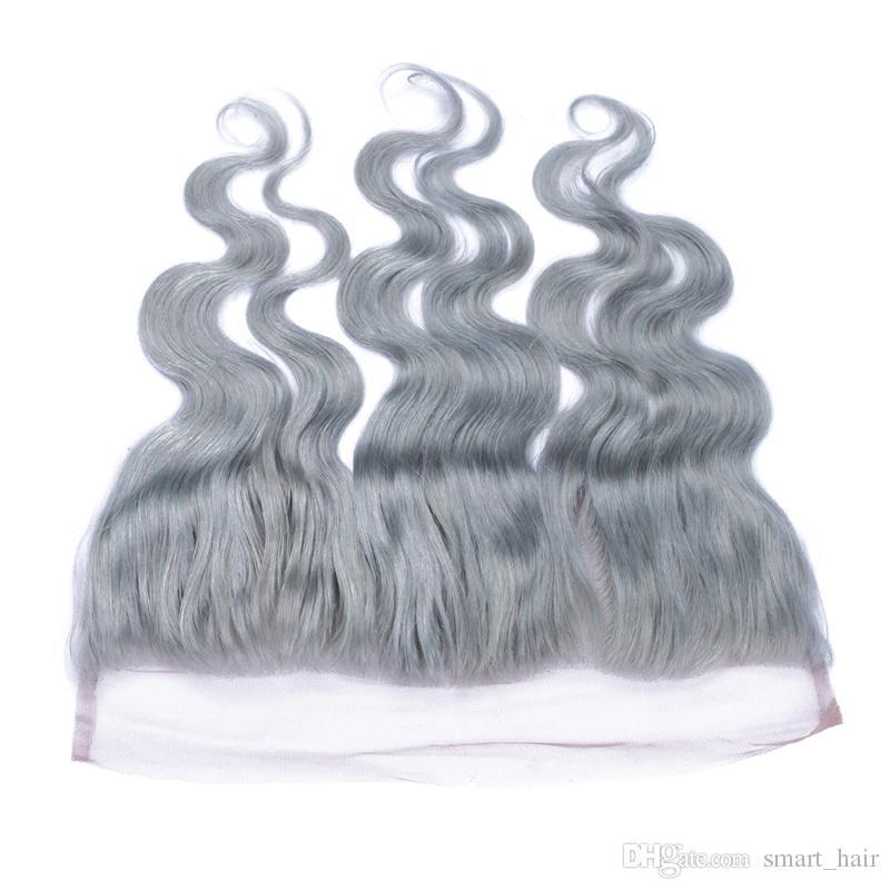 Nastro grigio orecchio all'orecchio pieno pizzo frontale con i capelli del bambino nodo candeggiato brasiliano capelli umani 13x4 onda del corpo # pizzo grigio frontale chiusura