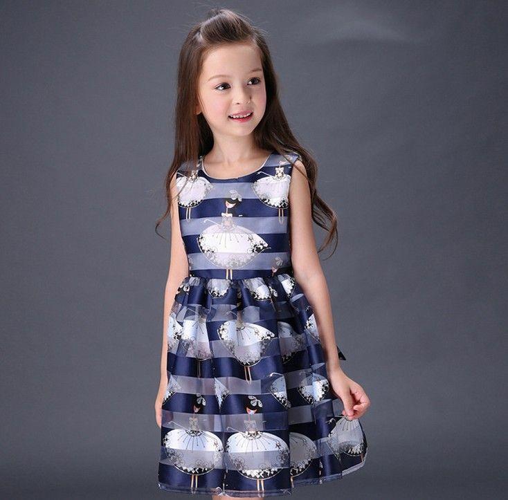 cheap for sale 100% high quality popular brand 2016 Elegant Girls Summer Dress Wide Stripes Dancing Angel Print Girls  Pleated Dress Sleeveless Kids Dress White Blue K7470