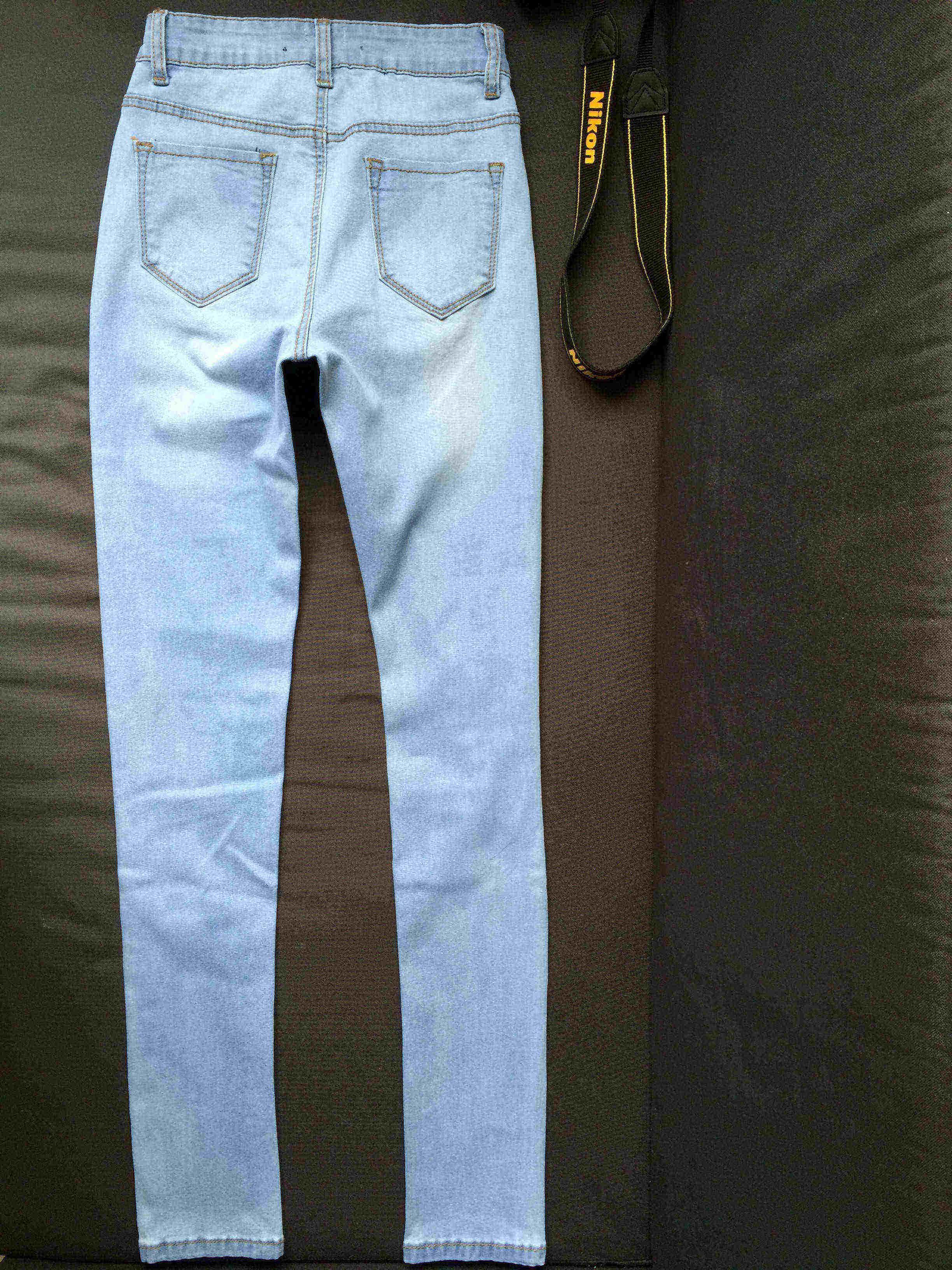 2016052920 Nuovo arrivo strappato grande foro nappe jeans a vita alta lavati pantaloni di jeans a figura intera pantaloni plus size donna womans