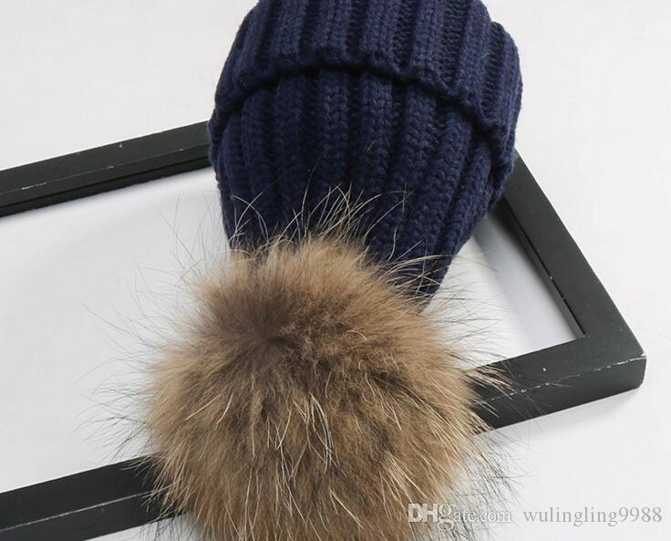 Qualità rimovibile Vera pelliccia di visone pelliccia Pom Poms palla acrilico berretti Inverno caldo pianura cappelli adulti Slouchy Mens donna neve cappello caldo libero EMS