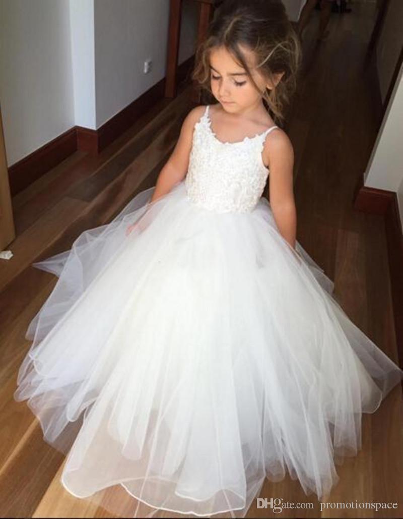 Adorável flor branca Vestidos de menina inchado Primeiro vestido de comunhão para meninas Espaguete para casamento formal vestido de festa BM0990