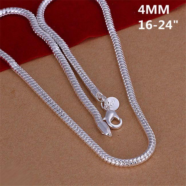 Collier d'os de serpent de haute qualité 4mm Hommes Sterling Argent Plaque Collier N191, Nouvelle mode 925 Silver Chaînes Collier Collier Vente directe