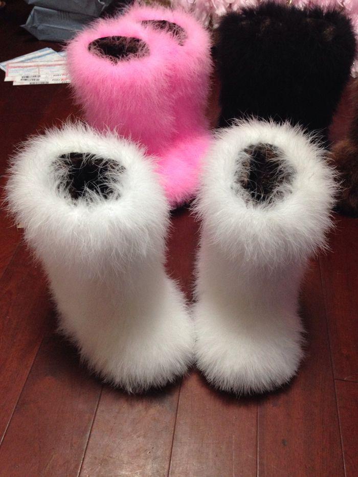 beauty sale retailer meet Women Ostrich Hair Woven Fluffy Warm Rainbow Snow Winter Shoes Black Plush  Ankle Boots WG602 Platform Boots Chelsea Boot From Mayaru1, &Price;| ...