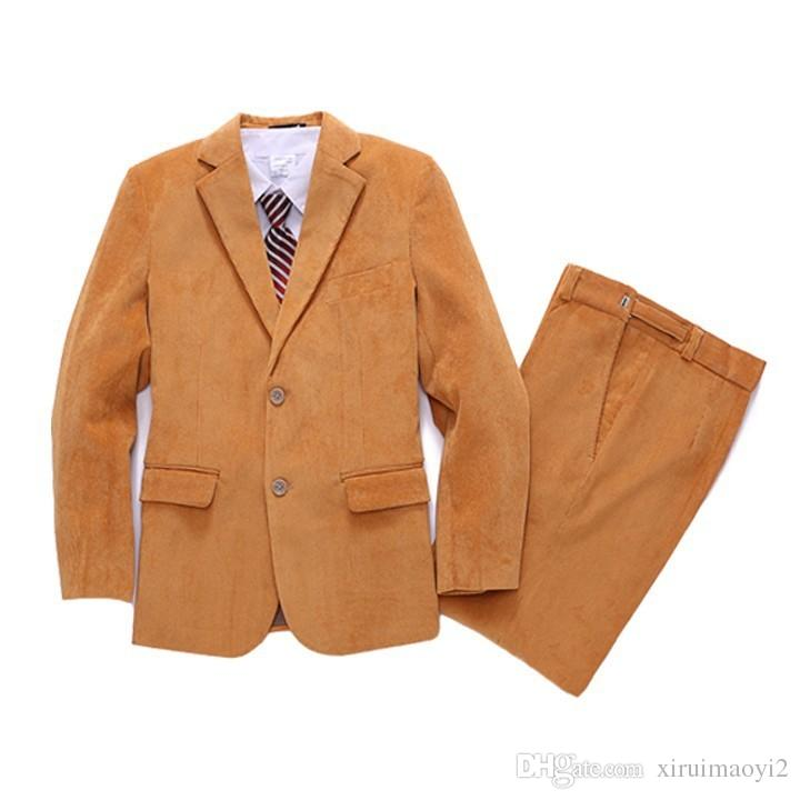 Corduroy Kid Boy Wedding Suit/Boys' Formal/Boy Blazers/Gentlemen Boys Suits For Weddings Blazer+Pants+Vest