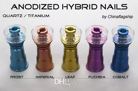 DHL free Highly quality the brand new Colorful anodized Elite-Ti Quartz / Titanium Hybrid Domeless Nail for all oil rigs glass water bongs