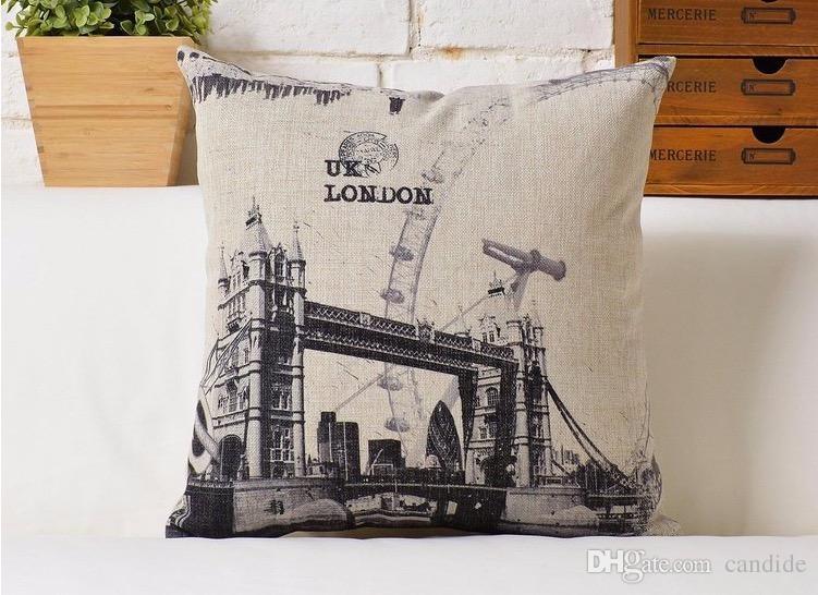 отсутствие эскиз Нью-Йорк Лондон Париж классическая архитектура дизайн красивая птица подушка шеи евро чехол подушка домашнего декора