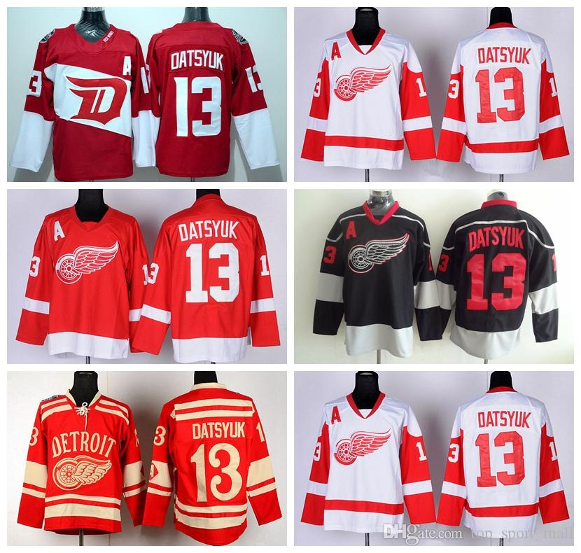 2019 Detroit Red Wings 13 Pavel Datsyuk Hockey Jerseys Ice Stadium Series  Winter Classic Datsyuk Red Wings Jersey Team Color Red White Blac Ice From  ... 2f7c51df8