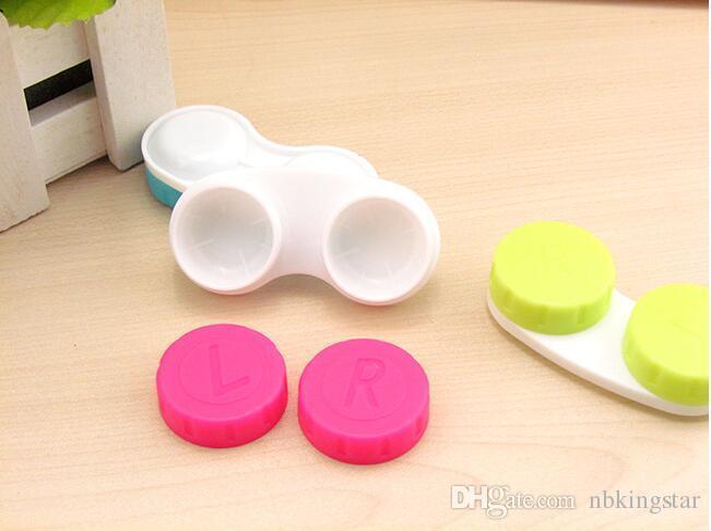 Caixa de Lentes de Contato de plástico Portátil Pequeno Lindo Doce Cor Eyewear Saco Recipiente de Lentes de Contato Caso 100 pçs / lote Frete Grátis