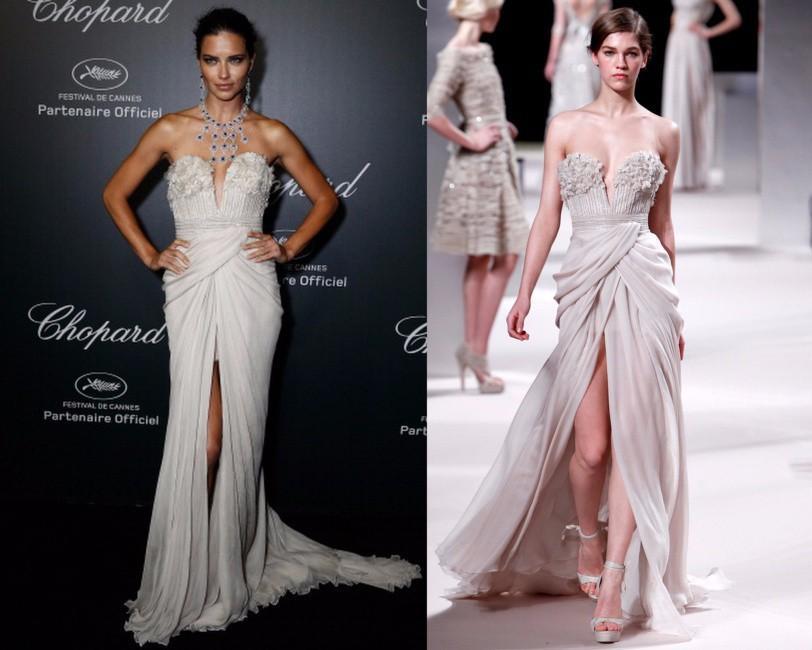 2016 Cannes Weiß Abendkleider Lange Chiffon-Muster Sexy Split Abendkleider Plus Size Formale Celebrity Kleider Marokkanischen Kaftan