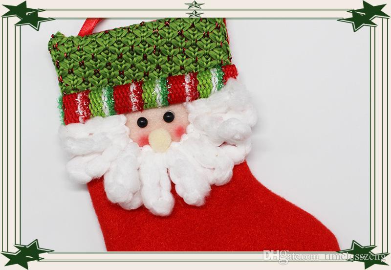 2016 yeni noel çorap Noel Baba asmak küçük çorap pamuk Hediye çantası şeker çantası Noel Dekorasyon