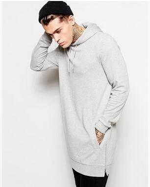 Toptan-Yeni geldi longline hoodies erkekler polar katı tişörtü moda uzun hoodieSets ilkbahar ve sonbahar dönemi ve uzun kaputu