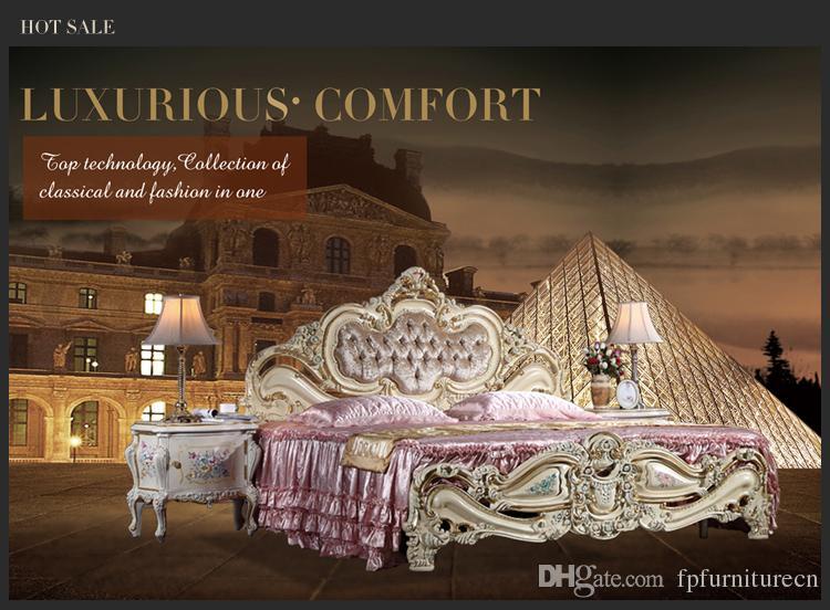 Muebles de estilo europeo clásico de estilo rococ: cama antigua barroca romántica de madera maciza romántica con pintura agrietada y dorado de pan de oro