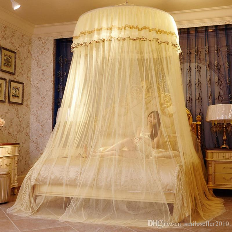 Luxury Romantic Hung Dome Mosquito Net Princess Students Insect Bed Canopy Netting Lace Round Mosquito Nets Curtain for Bedding JQ0038