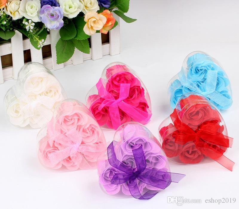 =one box High Quality Mix Colors Heart-Shaped Rose Soap Flower For Romantic Bath Soap Valentine's Gift