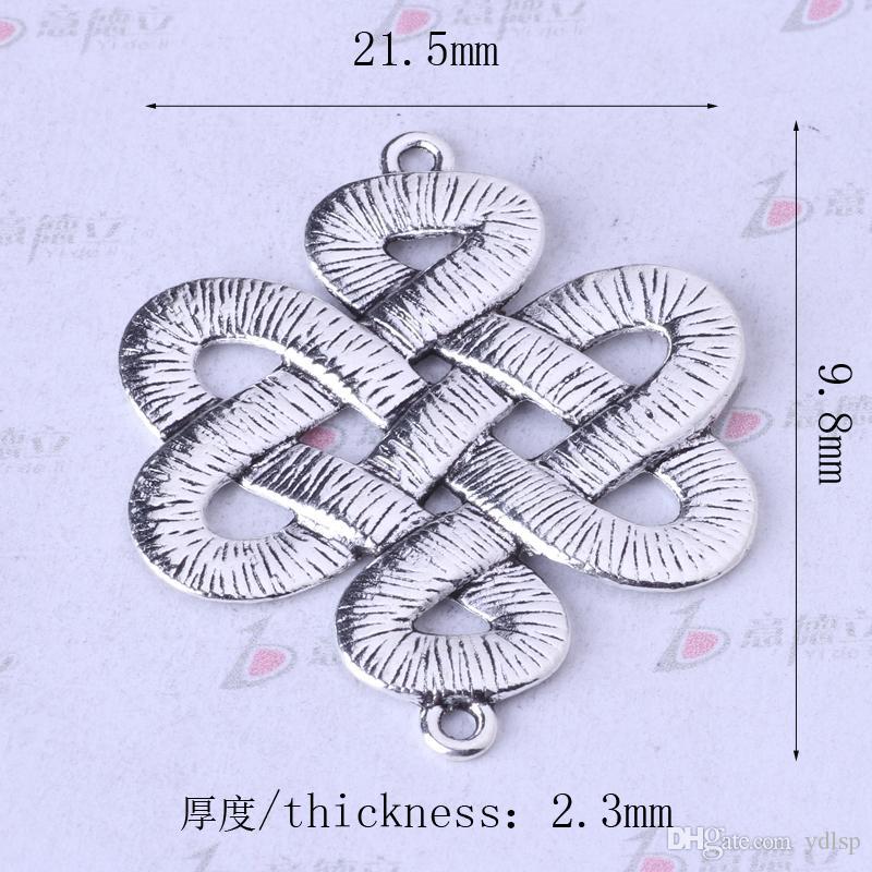 Conector de nó chinês breasted antique Prata / bronze DIY Pingente Fit Pulseiras Encantos Colar de Liga de Zinco Jóias 750 pçs / lote 157