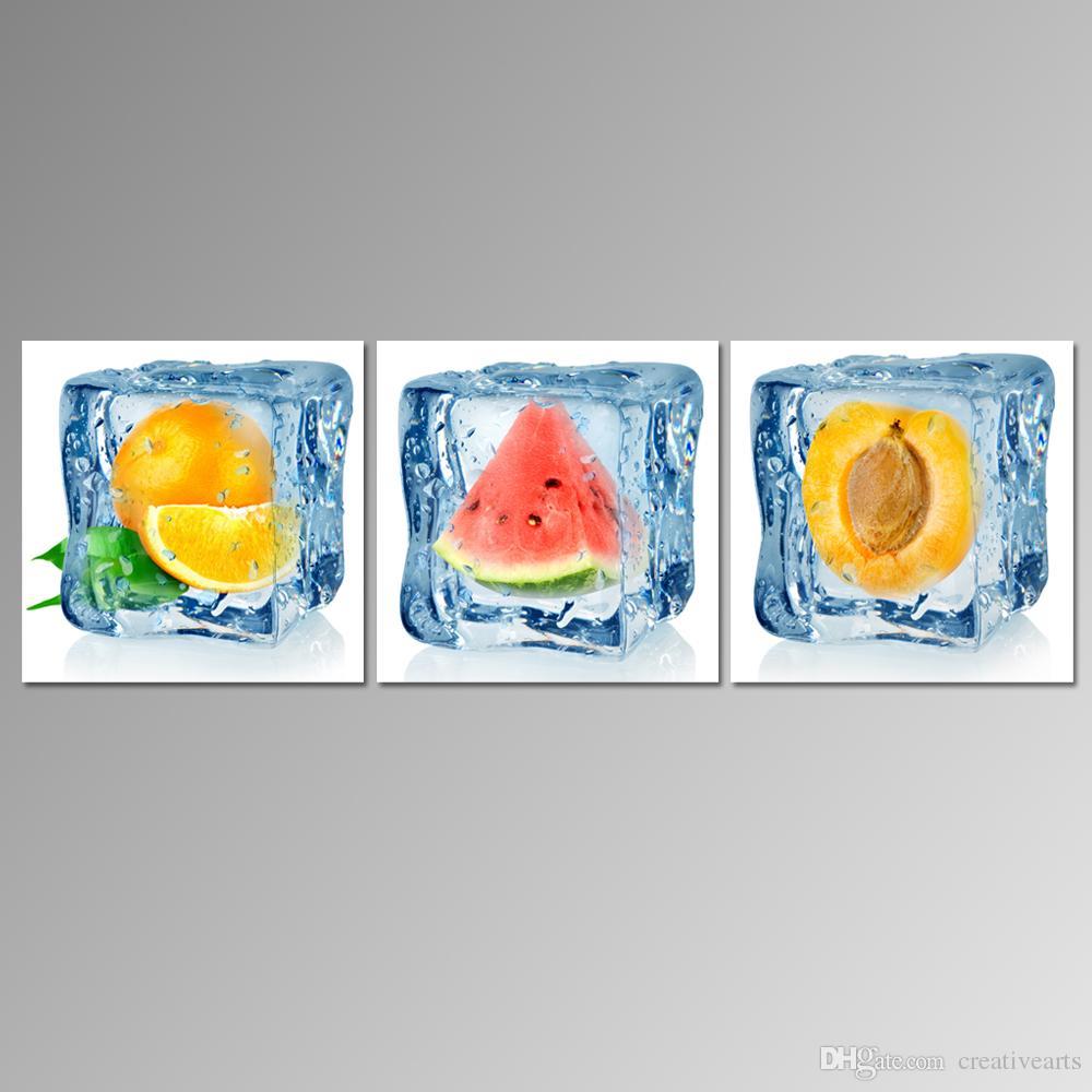 Satın Al 3 Panel Modern Sanat Buz Küpü Meyve Boyama Dropship Baskı