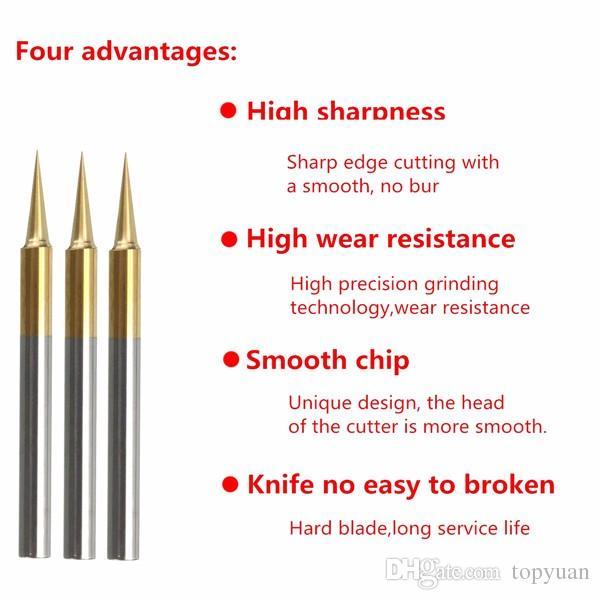 0.1mm 15 Degree Titanium Coated Carbide Flat Bottom PCB Engraving Bit CNC Router Tool