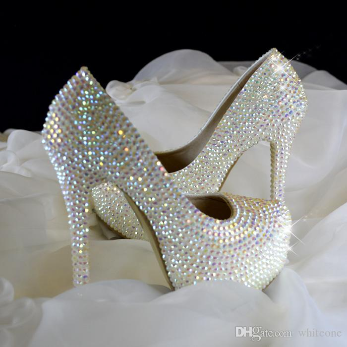 Bling Colorful Wedding Shoes For Bride Rhinestone Pointed