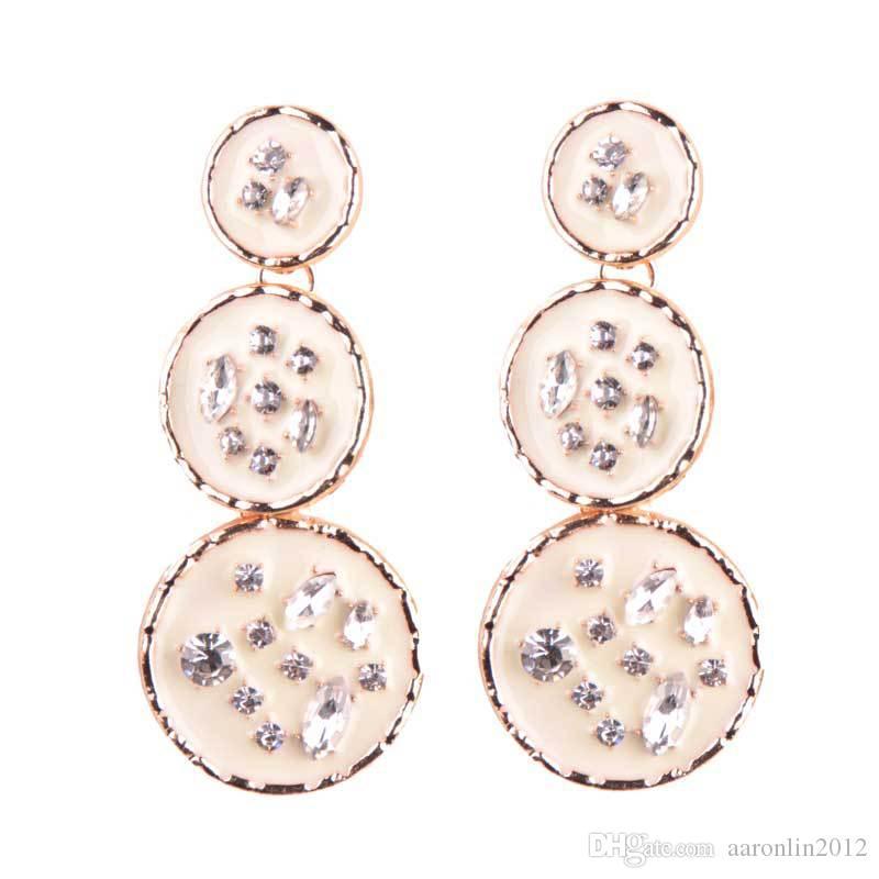 أزياء العلامة التجارية كريستال دائرة وأقراط للنساء مجوهرات الزفاف البوهيمي المينا الأقراط الطويلة قلادة الاكسسوارات النسائية