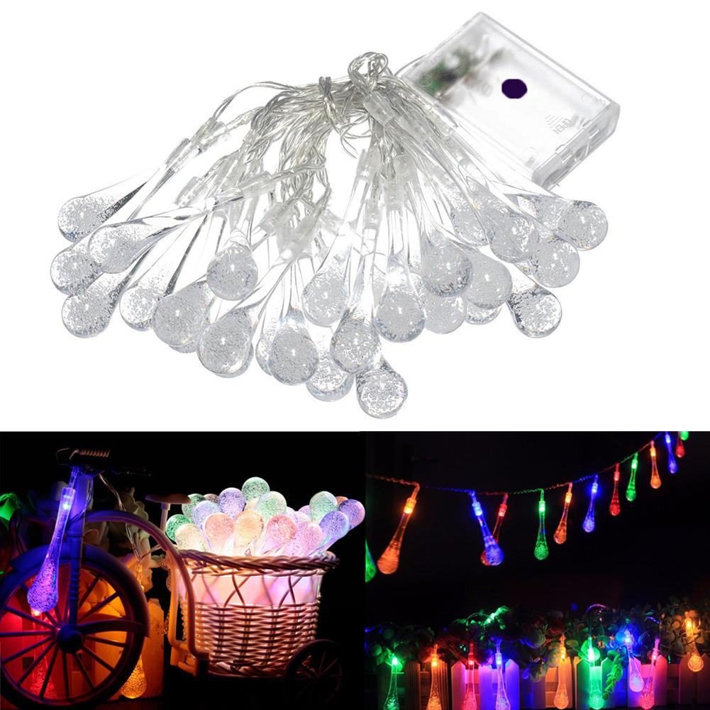 wholesale 3m 20led battery raindrops outdoor christmas string light outside courtyard garden home christmas decoration 2 pattern mfbs string christmas