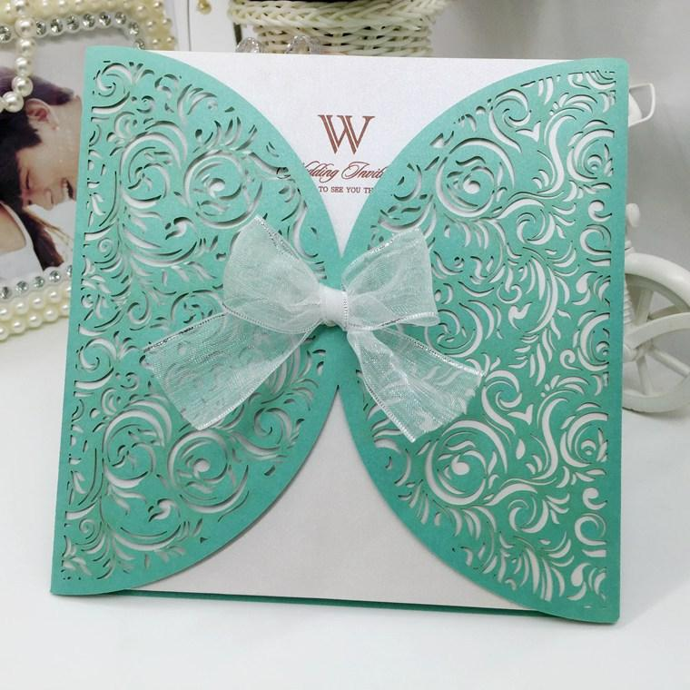 2016 New Blue Laser Cut Wedding Invitations Floral Pack Square Blank Inner  Sheets Envelope Wedding Invitations Sets