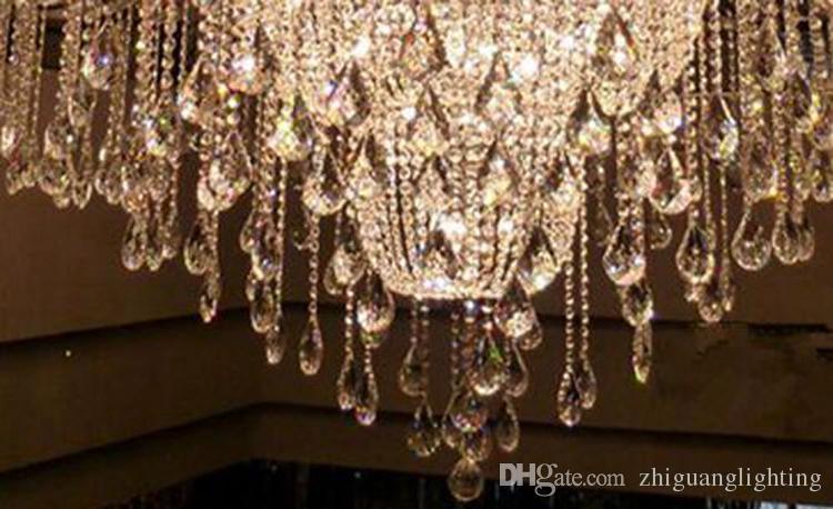 araña de cristal grande cromo araña extra grande para el vestíbulo del hotel grandes arañas contemporáneas elegante araña de cristal