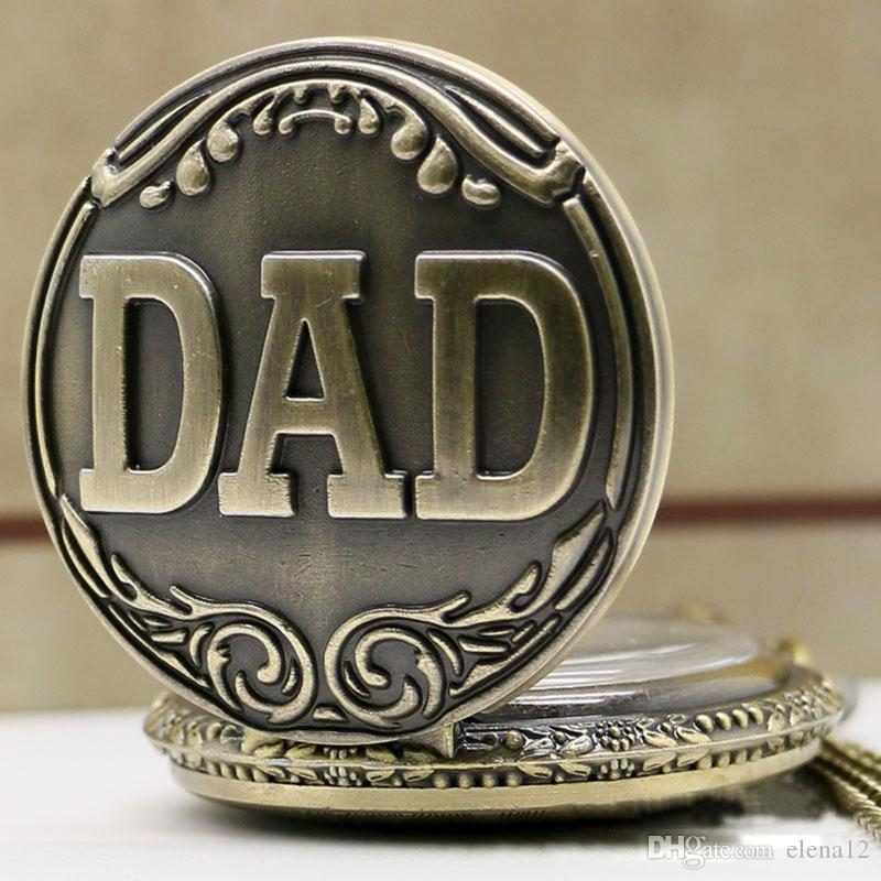 Father's Day Gift DAD Theme Vintage Bronze Fob Pocket Watch With Gift Box Best Present To Father Daddy BY DHL