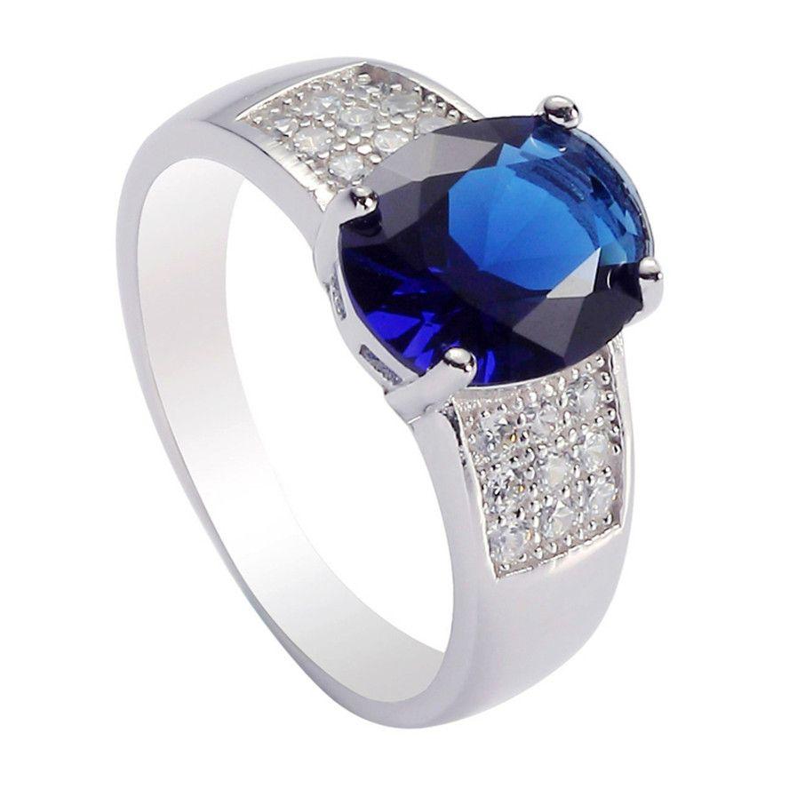925er Sterlingsilber für Frauen Ringe Dark Blue Zirkonia Favorite S - 3706 sz # 6 7 8 9 Rave reviews Edle großzügige Neuheiten Romantic