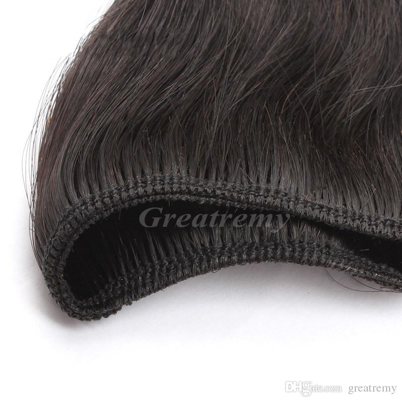 Natural Black Silky Straight Retail 100% Double Weft Brazilian Hair Weave 7A Unprocessed Virgin Human Hair Extensions Greatremy