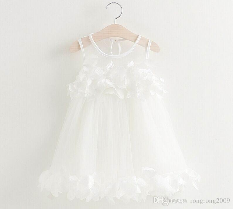 Commercio all'ingrosso di New Summer Girl Fairy Dress Petalo Fluffy Dress garza Vestito estivo vestiti dei bambini 2-6Y GE519