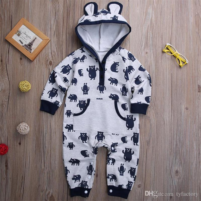 eaa2a2712ef9d Newborn kids baby boy hooded jumpsuits rompers bodysuits funny animal  pajamas Autumn kid clothing playsuit with pocket 0-24M
