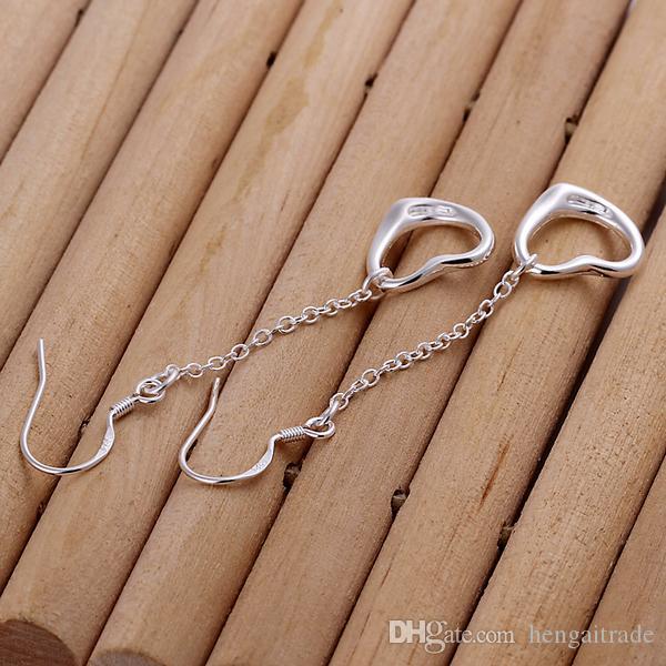 / LotFree trasporto del commercio all'ingrosso dell'argento sterlina 925 ha placcato i monili degli orecchini delle donne di modo i regali E086