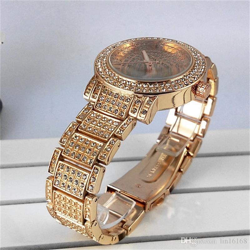 New Famous Luxury Crystal Dial Bracelet Quartz Wrist Watch Christmas Gift for Ladies Women Gold Rose Gold Silver Wholesale