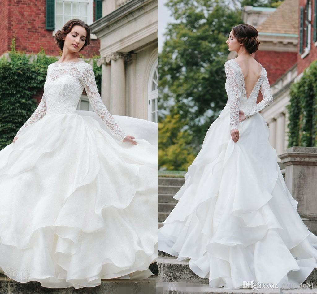 Long Sleeve Lace Wedding Dresses Ball Gown Backless: Discount 2017 Country Long Sleeve Lace Wedding Dresses