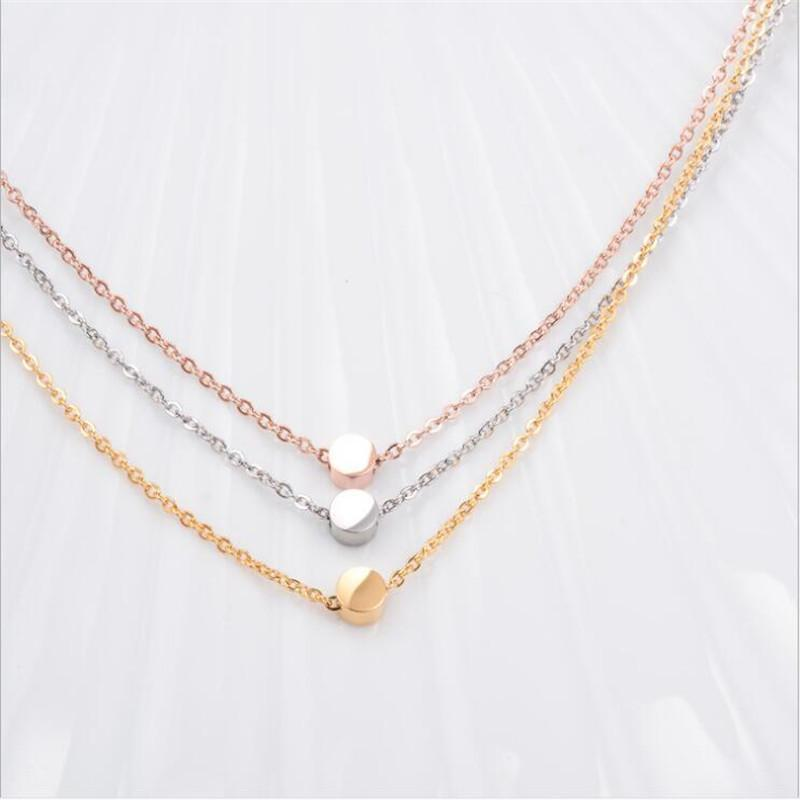 Pendant Necklaces Rose Gold 18K Titanium Steel Round Bead Chain Zhao
