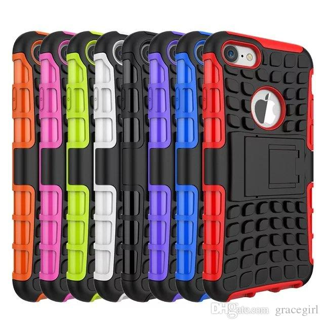 Kickstand Hybrid Camo Case para Iphone 7 Plus Iphone7 I7 TPU PC Hard Armor Soft Square Spider Round Hole Soporte colorido Skin Cover 150pcs