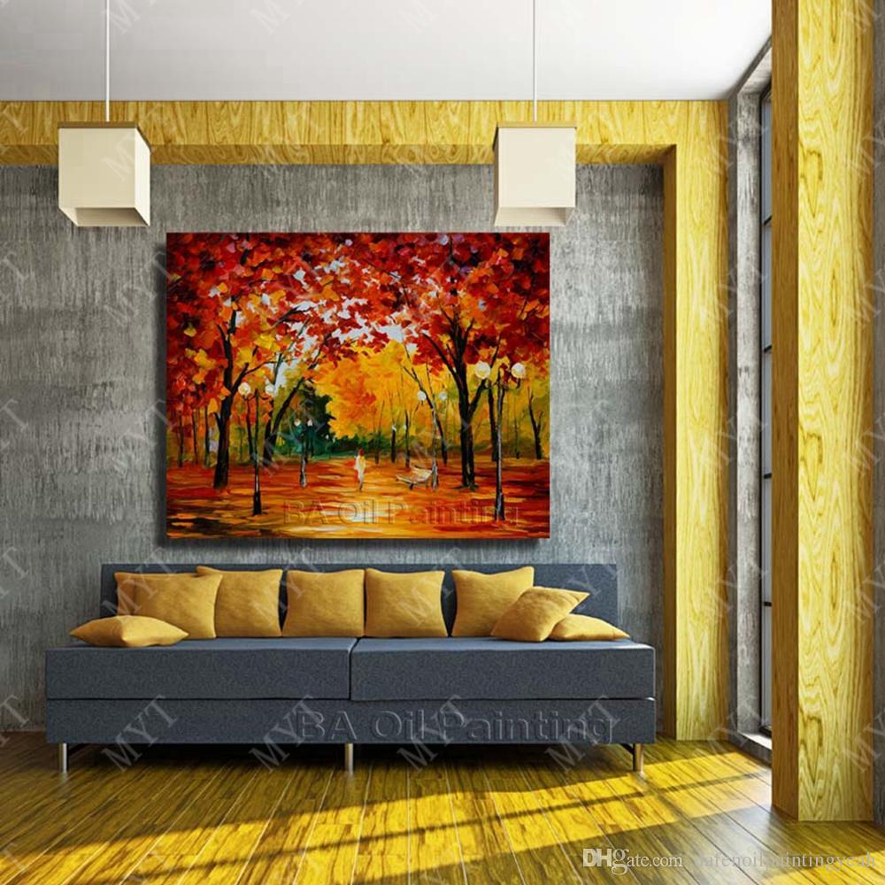 RedTree пейзаж стены искусства ручной росписью Мастихин картина маслом большой современный холст искусства домашнего декора нет обрамлены