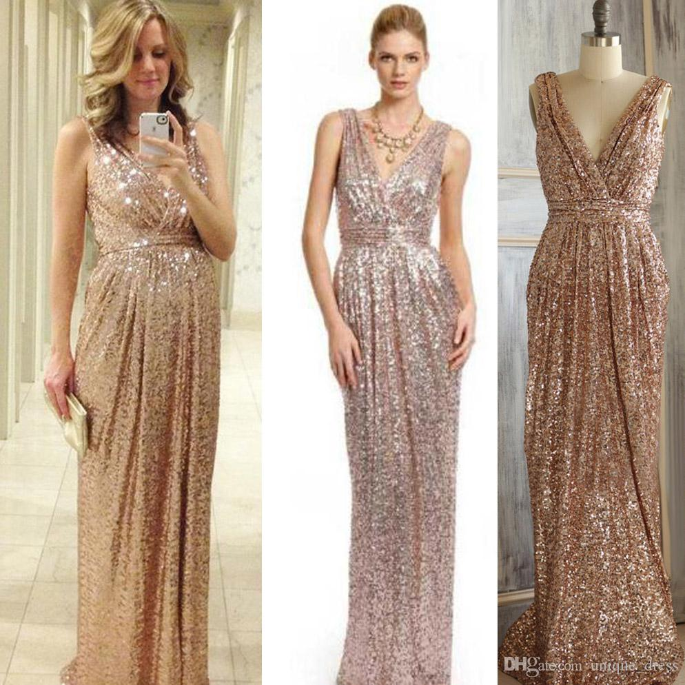 2016 Rose Gold Bridesmaid Dress Long Gold Sequin Prom Dress Metallic