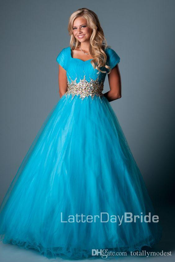 Blue Ball Gown Modest Prom Dresses With Cap Sleeves Long Floor Length Sparkly Beaded Waist Ruched Tulle High School Prom Gowns Modest Cheap