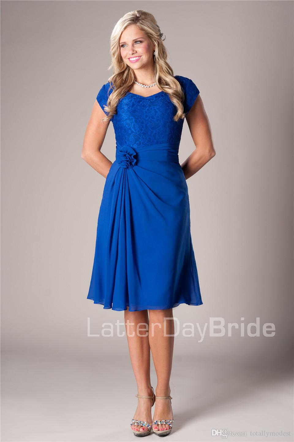 Casual royal blue beach short modest bridesmaid dresses for Blue beach wedding dresses