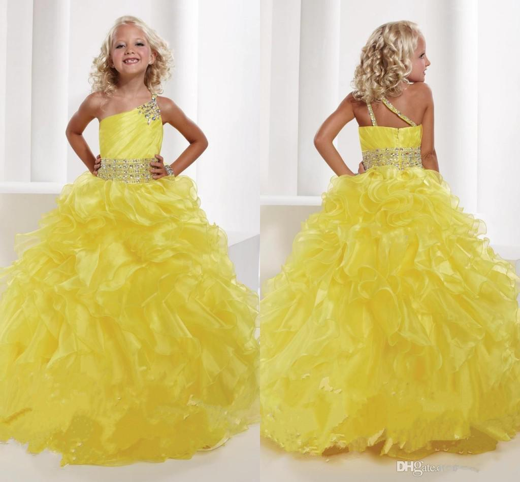2014 Princess Yellow One Shoulder Flower Girl Pageant Dresses Organza Beaded Ball Gown Flower Girl Dresses