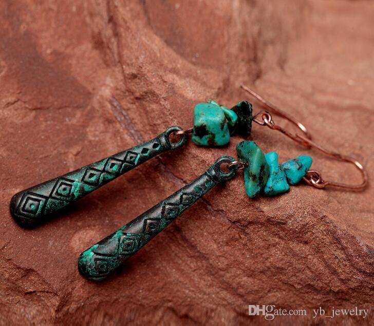 Women Original design retro patina long dangle earrings ethick texture foreign trade products factory wholesale price
