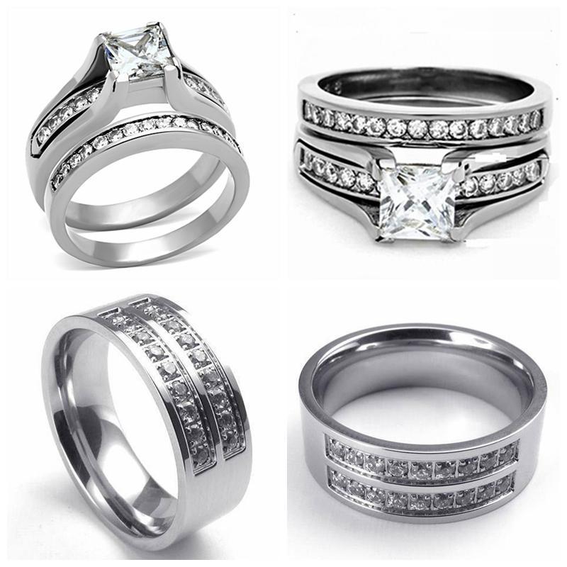 Size 5 15 Stainless Steel Titanium Wedding Engagement Ring Band Set  Princess Cut Diamond CZ Gemstone Crystal Anniversary Propose Bridal Wedding  Ring Set ...