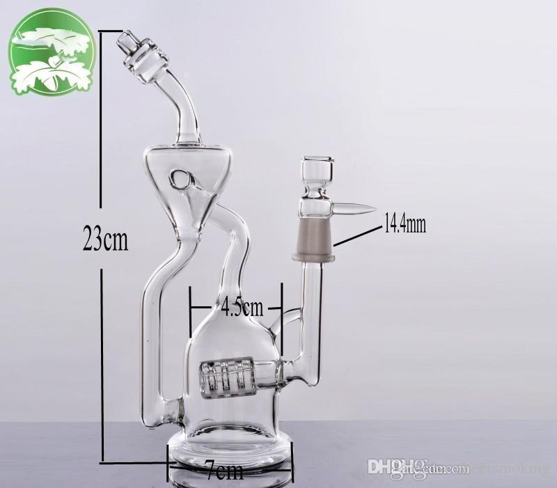 2020 Baum Recycler Triple-Perc-Glas Wasserpfeifen Bongs Bubbler 14.4mm Joint Hand Inline Aschfänger Bohrinseln Puls Glasbongs