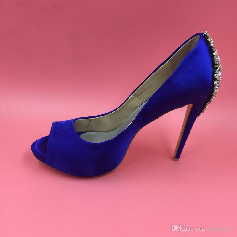 Rhinestone Royal Blue 2016 Real Image Bridal Wedding Shoes Crystal Bears Высокие тонкие каблуки Peep Toe модные женские сандалии на заказ плюс