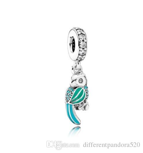 e07a8faaf92f Compre Ajuste Pandora Charm Pulsera De Plata Europea Encantos Loro Colgante  Verde Esmalte Cuelga Cadena De Serpiente De Bricolaje Para Las Mujeres  Collar De ...