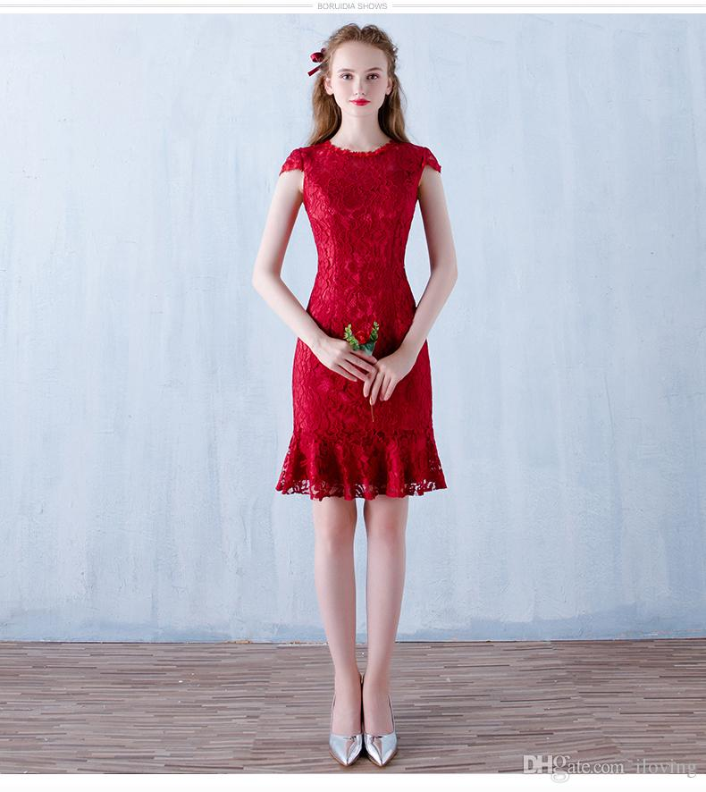 Red Prom Dresses Mermaid Evening Dresses Lace Short Capped Sleeves ...
