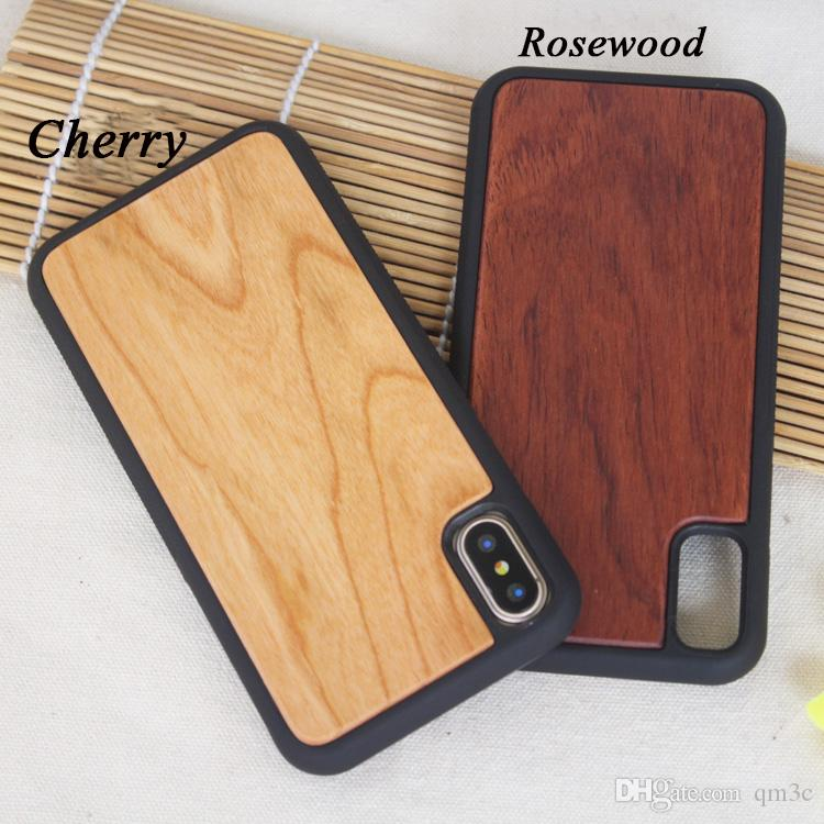 For Iphone X 8 6 6s 7 plus Wood Phone Cases Wooden iphone Cover For Samsung S8 Plus S7 S6 S5 edge Bamboo Cell phone Cases