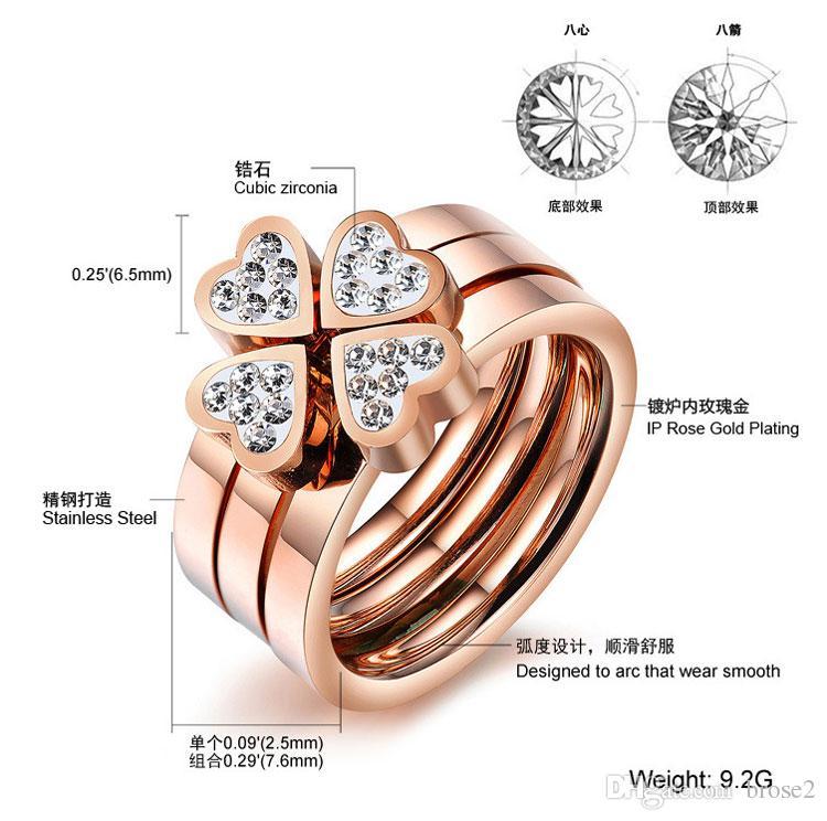 Mélange de bijoux coréens bonheur Clover tempérament rose or diamant triple amour titane acier anneau femelle