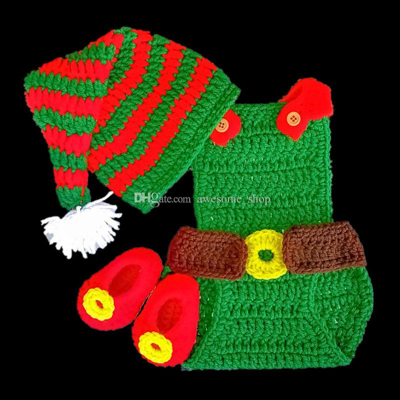 83f126649 2019 Novelty Baby Santa Elf Costume,Handmade Knit Crochet Baby Boy Girl  Christmas Pompom Hat,Diaper Cover,Shoes Set,Infant Toddler Photo Prop From  ...